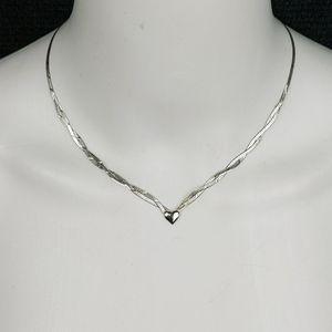 Vintage 925 Silver Herringbone Heart Necklace